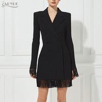 Adyce 2018 New Women Slim Black Jackets V Neck Double Breasted Long Sleeve Long Style Tassel