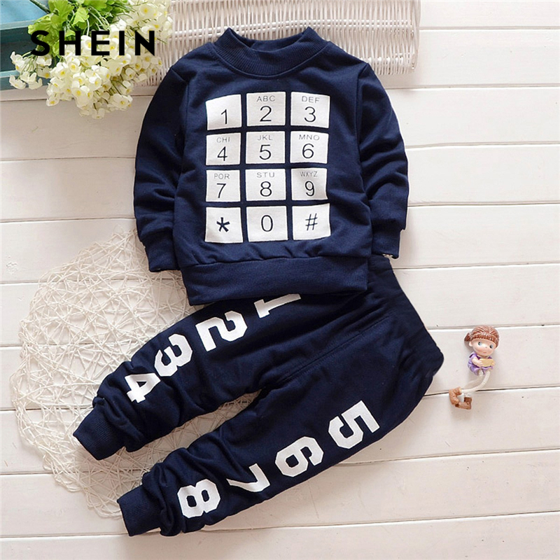 Фото - SHEIN Kiddie Navy Toddler Boys Geometric Letter Print Top And Pants Two Piece Kids Clothes 2019 Spring Long Sleeve Casual Suit shein kiddie girls white striped side casual top and shorts two piece set clothes sets 2019 spring long sleeve kids suit set