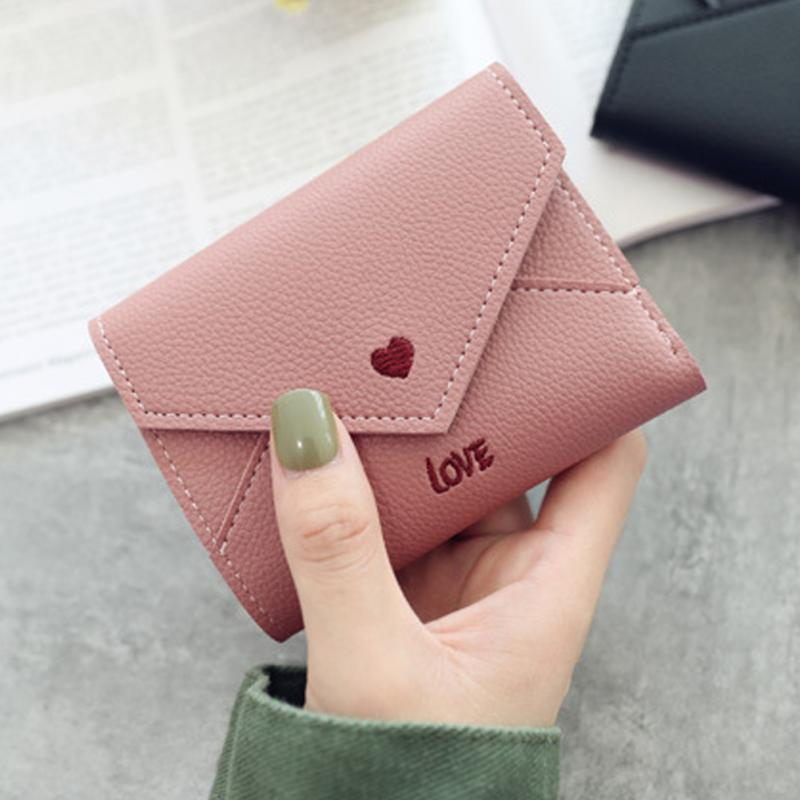 2019 Fashion Heart Pattern Tassel Women Wallet For Credit Cards Small Luxury Mini PU Leather Short Womens Wallets And Purses