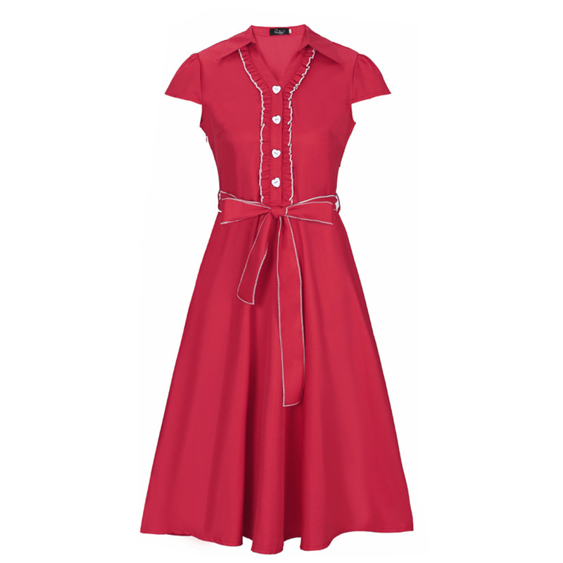 2017 New Summer Dress Seiko Secret Agents Multi Color Brand Retro Print Ruffles Knee-Length Turn Down Women Dress DX005