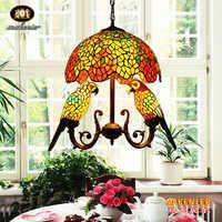 Makenier Vintage Tiffany Glasmalerei 16-zoll Glyzinien + Doppel Papageien Anhänger Hängelampe