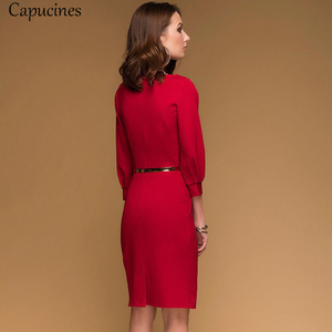 Image 3 - Red Pencil Dress Women Autumn Solid color Draped Lantern Sleeve Office Lady Dress 3/4 Sleeve Elegant Bodycon Dresses(No Belt)