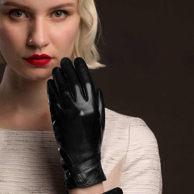 Black Genuine Leather Gloves Fashion Women Sheepskin Gloves Thermal Winter Velvet Lining Finger Driving Glove NW787 5 in Women 39 s Gloves from Apparel Accessories