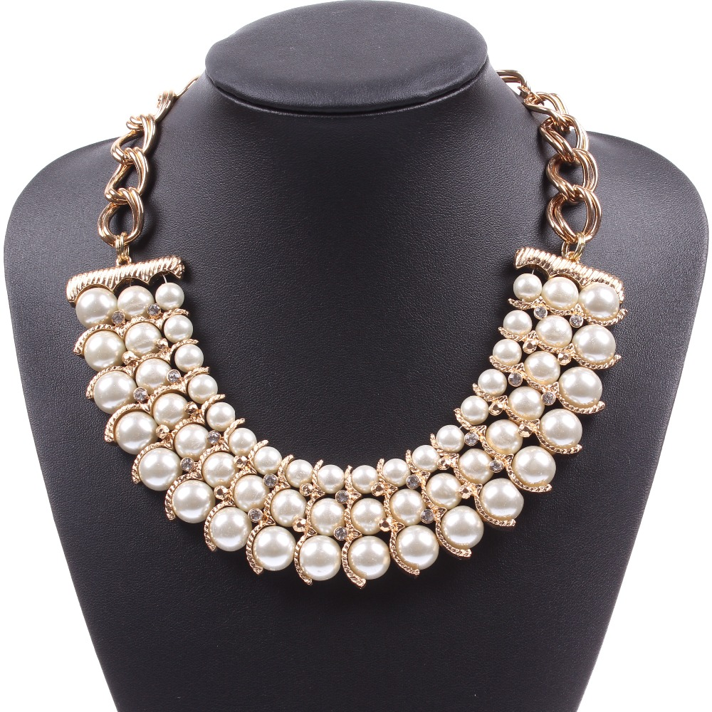 Fashion 2017 Gold Color Chain Chunky Faux Pearl Necklace Wholesale Jewelry  For Women Free Shipping(