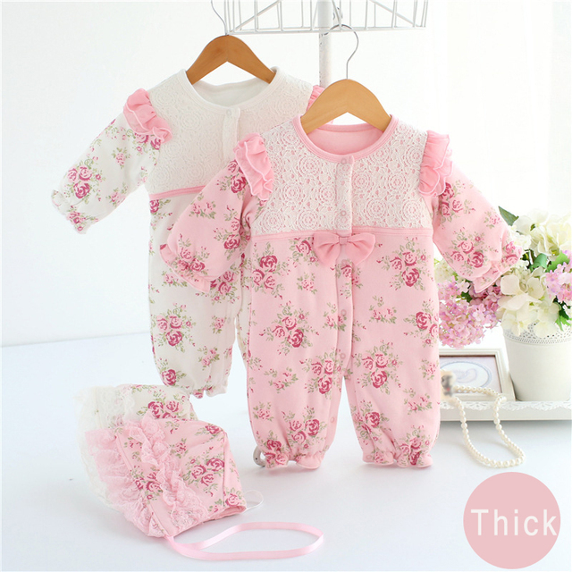 768175d4aea4 hot cute newborn baby girls romper winter baby girl clothing set vintage  clothes lace floral coat toddler Layette Down warm