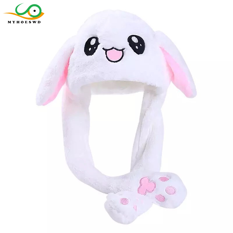 MYHOESWD Lovely Moving Rabbit Ears Funny Hat Toy For Girls Cartoon Hats Adult Practical Jokes Children's Party Hat Birthday Gift