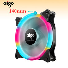 Aigo aurora fan 140mm/14CM LED ring-förmigen von solar eclipse 12V 3pin + 4pin desktop PC Computer Kühlung Kühler Silent Fall Fan(China)