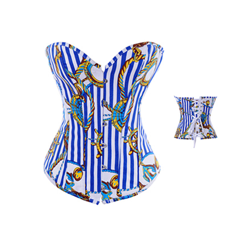 Vertical Stripe   Corset   Blue   Bustier   Overbust   Corset   Push Up Corselet Top Woman Sexy Sliming Body Shapewear M1960