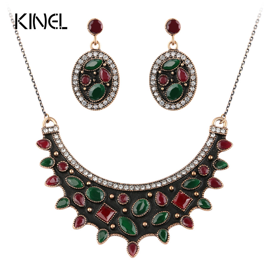 Buy luxury vintage jewelry sets black for Red black and green jewelry