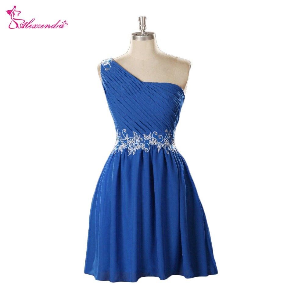 Alexzendra Blue Applique One Shoulder Mini   Prom     Dresses   Simple Party   Dresses   Plus Size