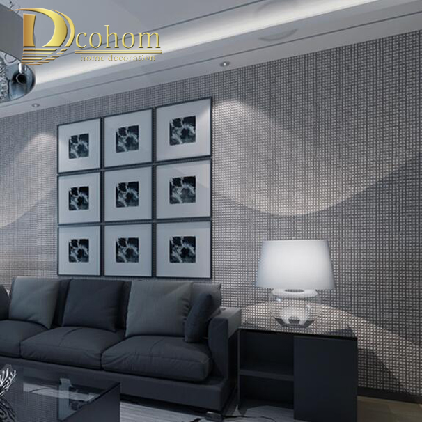 Modern simple luxury home decor flocked plaid textured for Grey wallpaper living room ideas
