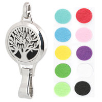 5pcs 30mm Plain Family Tree Of Life Aromatherapy Essential Oil Surgical Stainless Steel Perfume Diffuser Lanyard