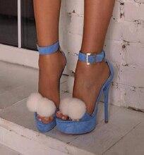 Women New Fashion Open Toe Blue Ankle Strap High Platform Denim Sandals Summer Hot Buckle Design High Heel Sandals Dress Shoes