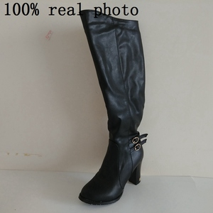 Image 4 - ORCHA LISA Women Winter Thick Fur Knee High Heel PU Leather Boots Zipper Snow Boot Long Chunky Heels Botas Feminina Black Brown