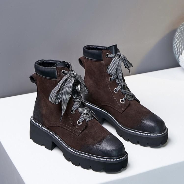 Show Brun Chunky Show Chaussures as Pour Rond Croix Rétro Large Talon Bottes Femmes Dentelle As Martin Liée Suédé Bout Noir D'hiver Femme Cheville B1yWqS5