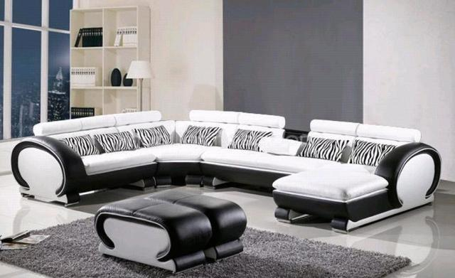 L Shaped Sofa Genuine Leather Corner sofa with Ottoman Chaise Lounge ...