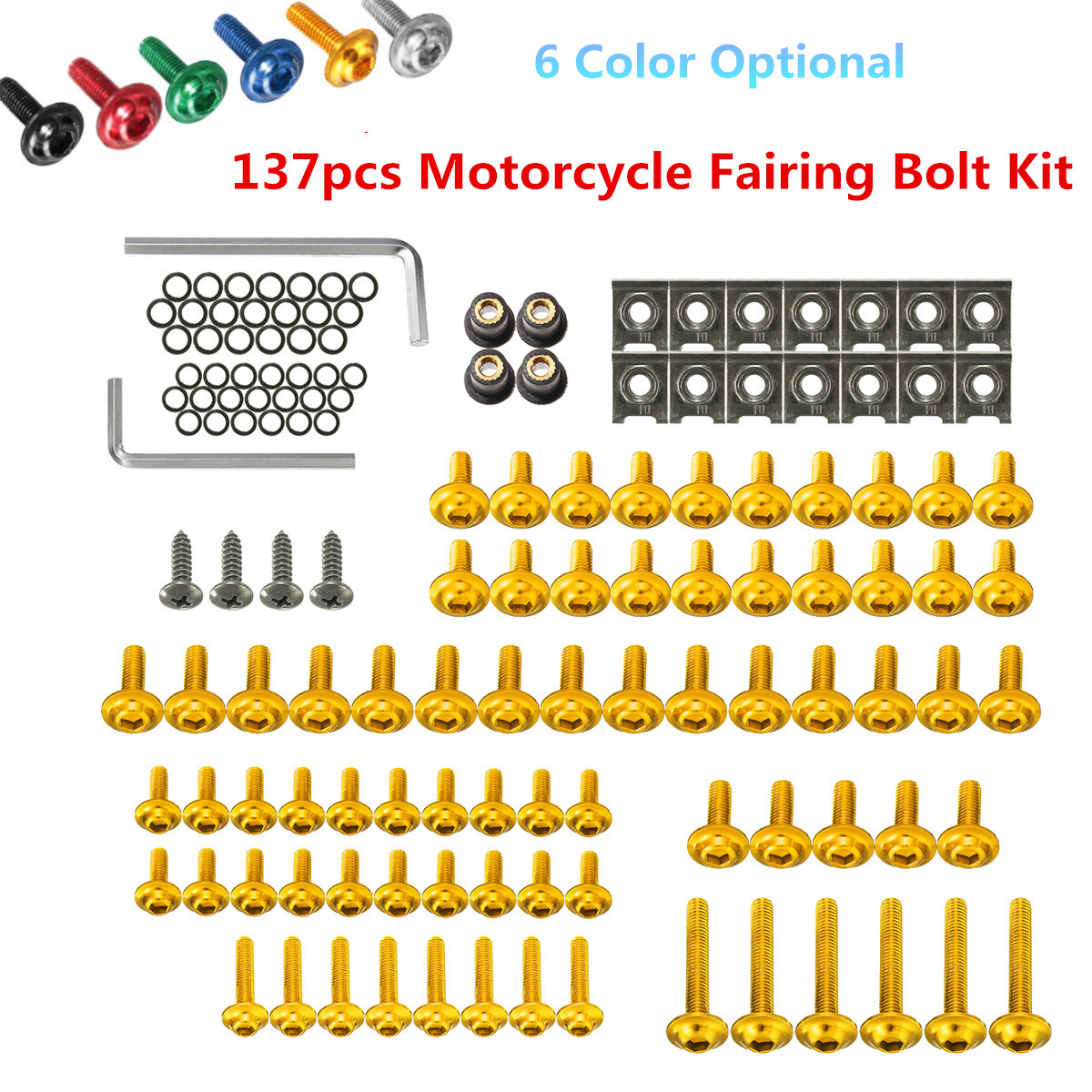 137pcs M6 Universal Motorcycle Fairing Body Bolts Kit Spire Speed Fastener Clips Screw Nuts For Honda/Yamaha/Kawasaki/Suzuki цены