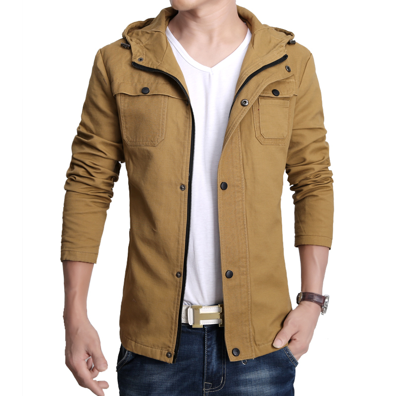 Denim Style Men Casual Hooded Jackets Plus Size M-3XL Solid Color Cotton Warm Coats Man Fashion Canvas Outerwear - Natural Beauty Clothing store