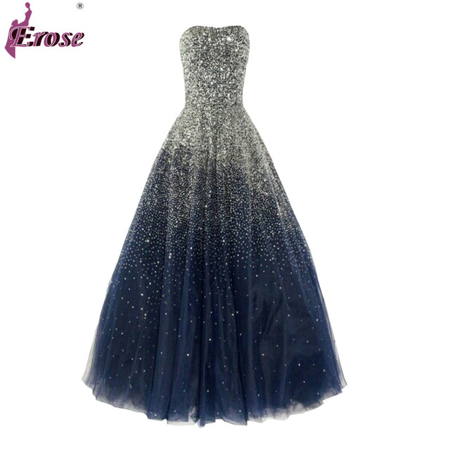 Sparkly Pailletten Abendkleider Ballkleid Marineblau Tulle Lange ...
