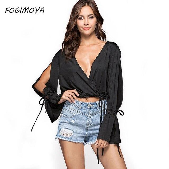 FOGIMOYA футболка Для женщин 2018 г. летние пикантные глубоким v-образным вырезом короткий топ Для женщин Сплошной Черный выдалбливают дырявый пупка т рубашка новая