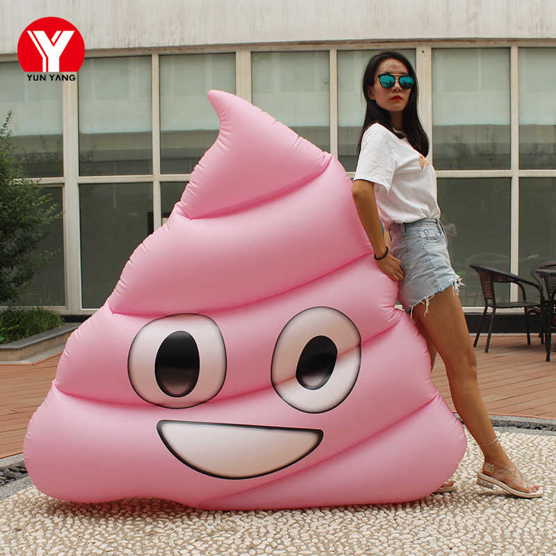 160CM Giant Pink Emoji Poop Float Swimming Water Fun Toy Grey Poop Float  Emoji Swimming Ring inflatable emoji float pool