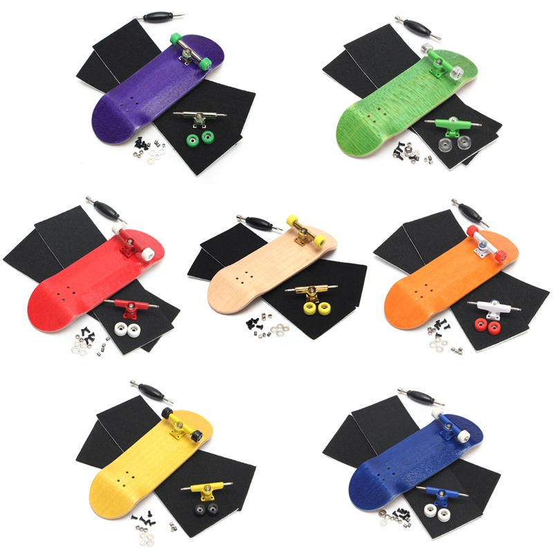 Basic Complete Wooden Fingerboard Professional Finger SkateBoard Wood Fingerboars With Bearings Wheel Foam Tape Set 7 Colours