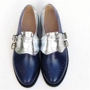 "Image 3 - פרה עור גדול אישה ארה""ב גודל 9 מעצב בציר שטוח נעלי בוהן עגול בעבודת יד שחור לבן אוקספורד נעליים לנשים 2020 אביב"