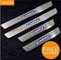 LED Stainless Steel Door Sill Scuff Plate For Toyota Camry 7 Gen 2012-2013 car accessories car-styling 3D sticker Car Interior