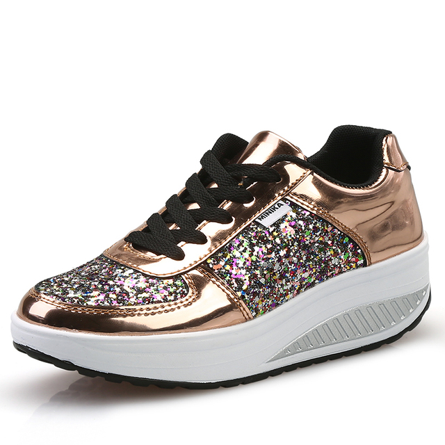 2019 Leather Gold Silver Sequins Women Sneakers White Glitter Shoes Ladies  Fashion Wedge Women Shoes Bling Casual Tenis Feminino ed564e7b4f