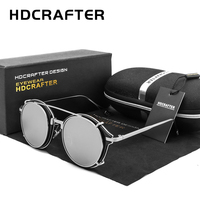 HDCRAFTER Fashion Men Women Metal Round Frame Eyewear Mirror Lens Sun Glasses Steampunk Steam Punk Sunglasses