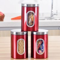3pcs 202 Stainless Steel Tea Coffee Canisters Storage Jar with Window Home Kitchen Storage Jar for Coffee Sugar Candy Nuts