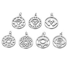 5pcs 316L Stainless Steel 7 Chakra Yoga Charm Gold Rose Silver Tone Hollow Out Lotus Flower Pendant DIY Jewelry Crafts