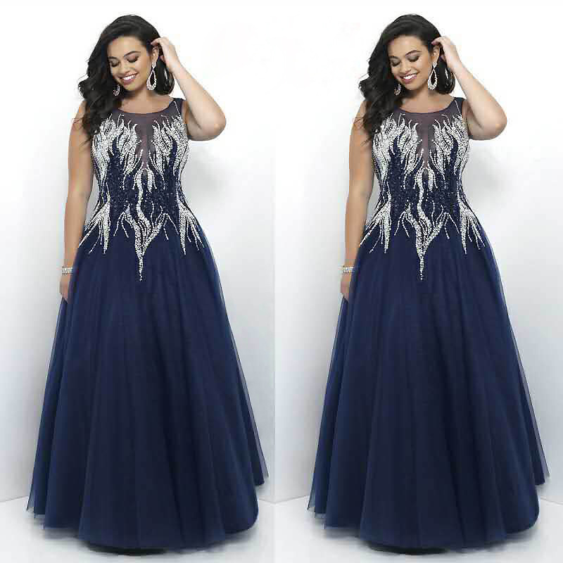 dab1e3f66c6 Luxurious Embroidery Beading Evening Dress Plus Size Formal Gown Navy Blue  Fashion O Neck Sleeveless Long robe de soiree 2018