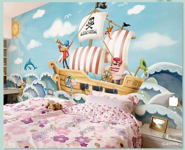 Children S Room 3d Wallpaper Boy Room Bedroom Background Wallpaper Wall Cloth Jack Viking Sailing Cartoon Mural Girl Wallpapers Aliexpress