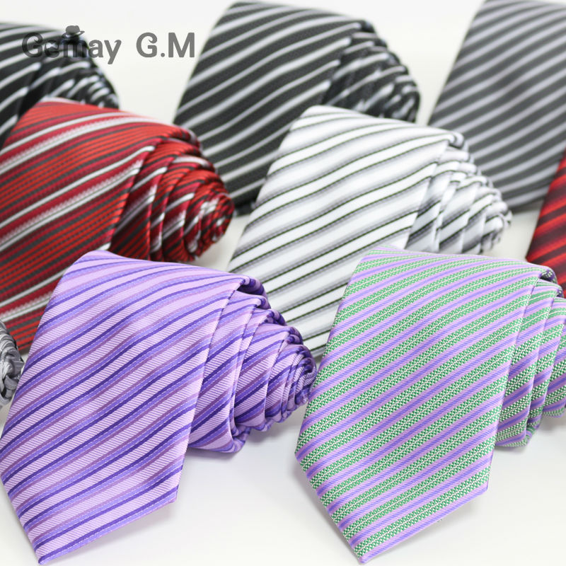 New fashion polyester Microfiber woven Mens Neckties 7.0 width Classic thin Striped ties for man Free Shipping