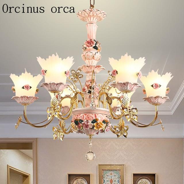US $328.0 |French luxury crystal chandelier living room bedroom Princess  Room children\'s room European pink flower ceramic Chandelier-in Chandeliers  ...