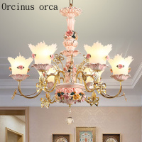 French luxury crystal chandelier living room bedroom Princess Room children's room European pink flower ceramic Chandelier