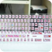 Kawaii Pink Kitty Cat DIY Computer Keyboard Stickers Computer Decoration.Dustproof Keyboard Stickers.Free shipping(China)