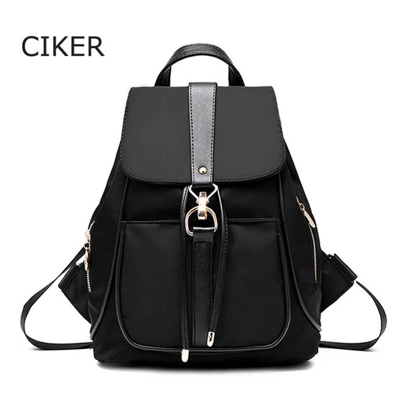CIKER Waterproof nylon backpacks for teenage girls women backpack buckle school bags daypack fashion portable travel