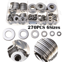 6 Sizes 270pcs Stainless Steel Durable Washers Kit With Case For Machinery Car Assorted Solid Crush