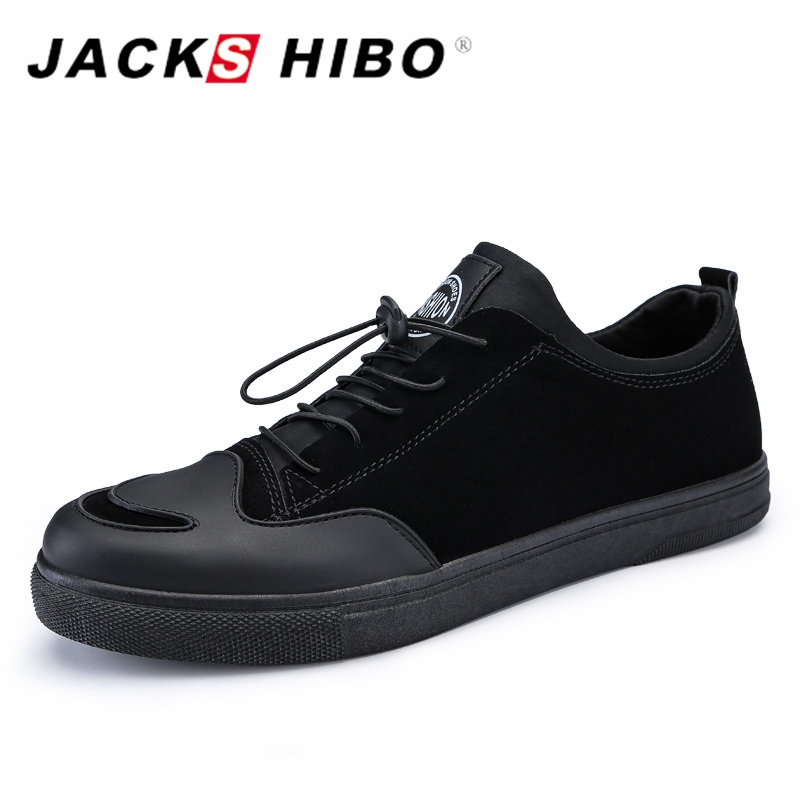 JACKSHIBO Spring New Design Mens Simple Black Shoes Man Fashion Footwear Shoe Zapatillas Hombre Slipon Flats Male Shoes