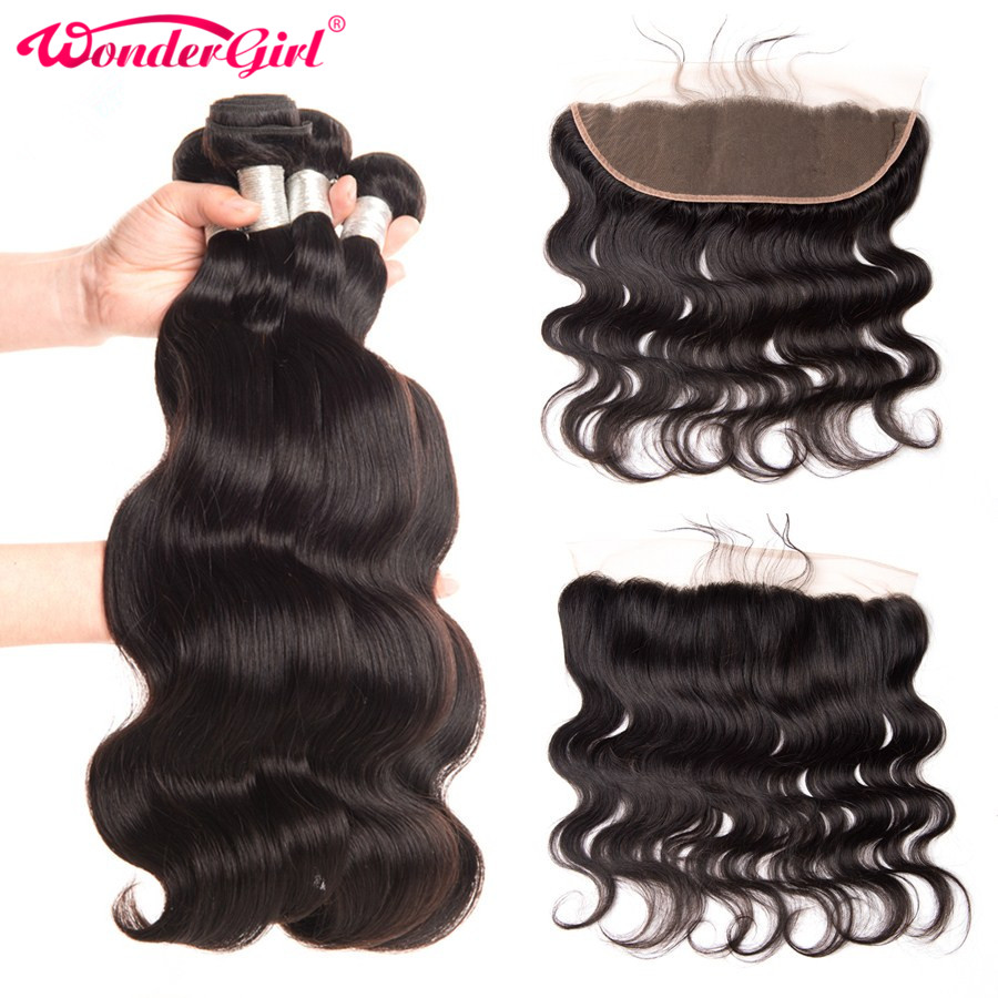13x4 Ear To Ear Lace Frontal Closure With Bundles Peruvian Body Wave Human Hair 3 Bundles With Closure Wonder girl Remy Hair