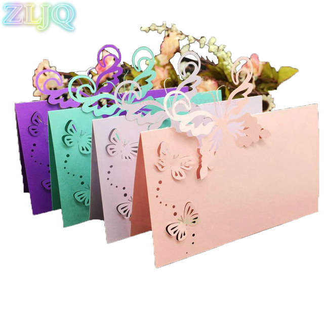 Zljq 100pcs Wedding Table Name Card Butterfly Invitation Card