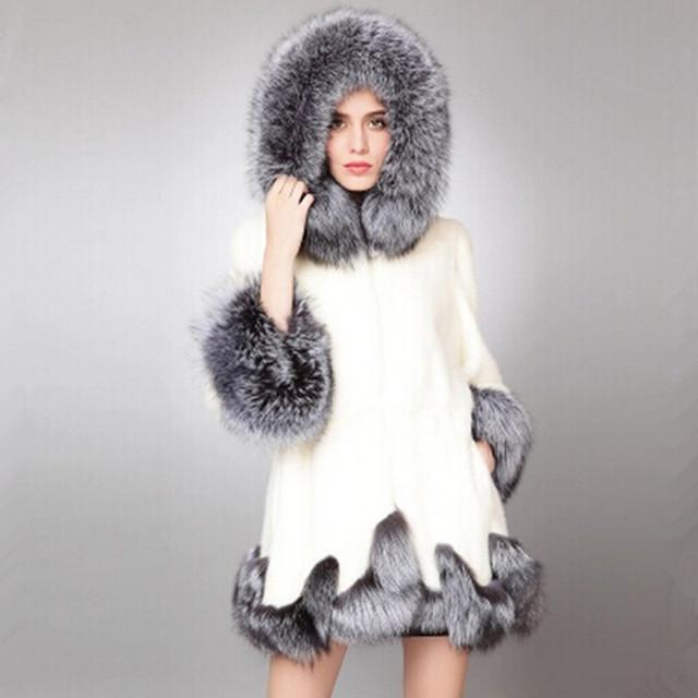 2017 nuevo invierno nueva imitación de piel de zorro abrigo de visón de Oriente medio las mujeres de lujo de piel sintética abrigo largo chaqueta de abrigo de las mujeres vestido de gran tamaño