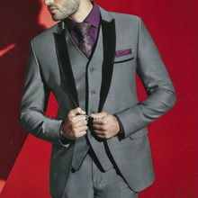 Grey Mens Suits with Pants Groom Wedding Tuxedos Terno Masculino Black Velvet Peaked Lapel Man Blazers 3Piece Coat Pants Vest