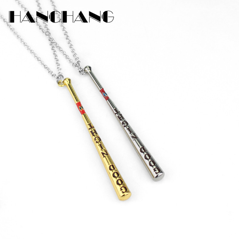 Hot Movie Jewelry Necklace Suicide Squad Girls Quinn weapon Baseball Bat Good Night Test Charms Pendants Necklace Collar Gift