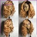 8A Llena del cordón pelucas de cabello humano rubio peluca llena del cordón de dos tonos ombre del frente del cordón pelucas del pelo humano corto pelucas de pelo humano con el bebé pelo