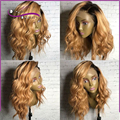 8A cabelo humano Full lace wigs loira cheia do laço peruca dois tons ombre rendas frente perucas de cabelo humano curto perucas de cabelo humano com o bebê cabelo