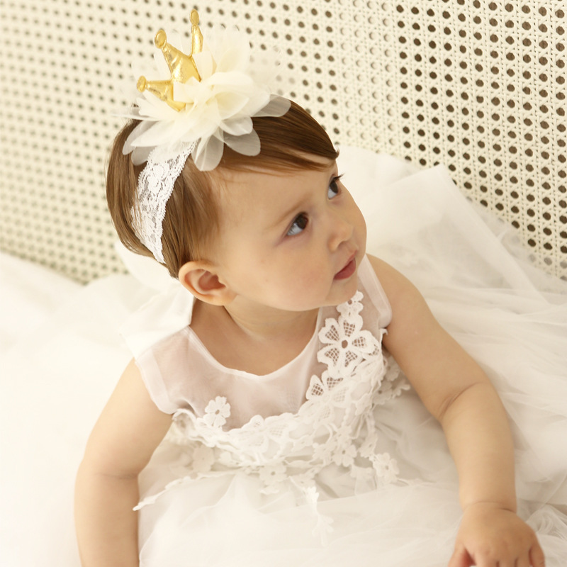 2017 Princess Baby girl Crown Headband white Lace Gold crown elastic headband bandeau bebes fille hair accessories toddler girls 1pcs new lace baby headband chic lace mix 4 flower princess girls headband hair bow headband baby girl children hair accessories