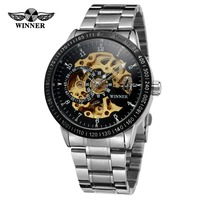 T WINNER Men's Fashion Designer Automatic Movement Skeleton Charming Montre Wrist Watch With Stainless Steel Band WRG8031M4